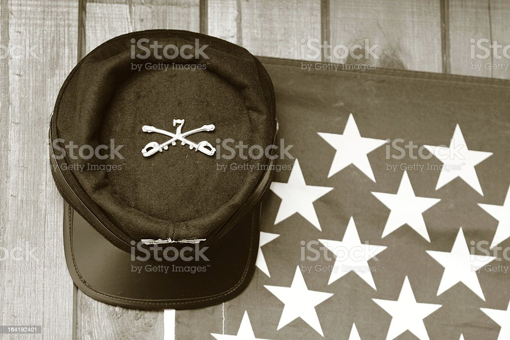 Union Hat hanging in front of a headquarter (sepia-toned) royalty-free stock photo