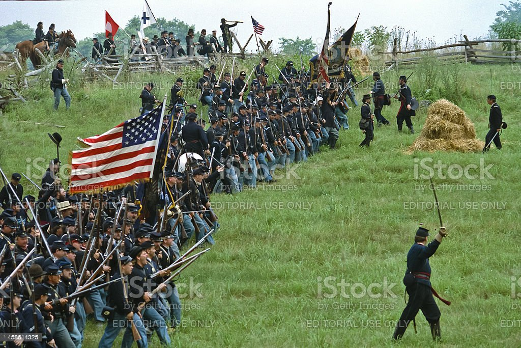 Union Infantry Attack US Civil War Reenactment stock photo