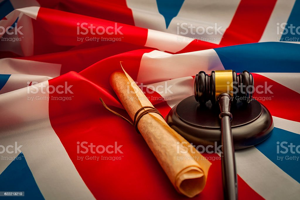 Union Jack, a gavel and the Magna Carta stock photo