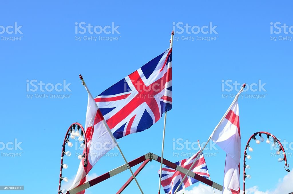 Union jack and english flags stock photo