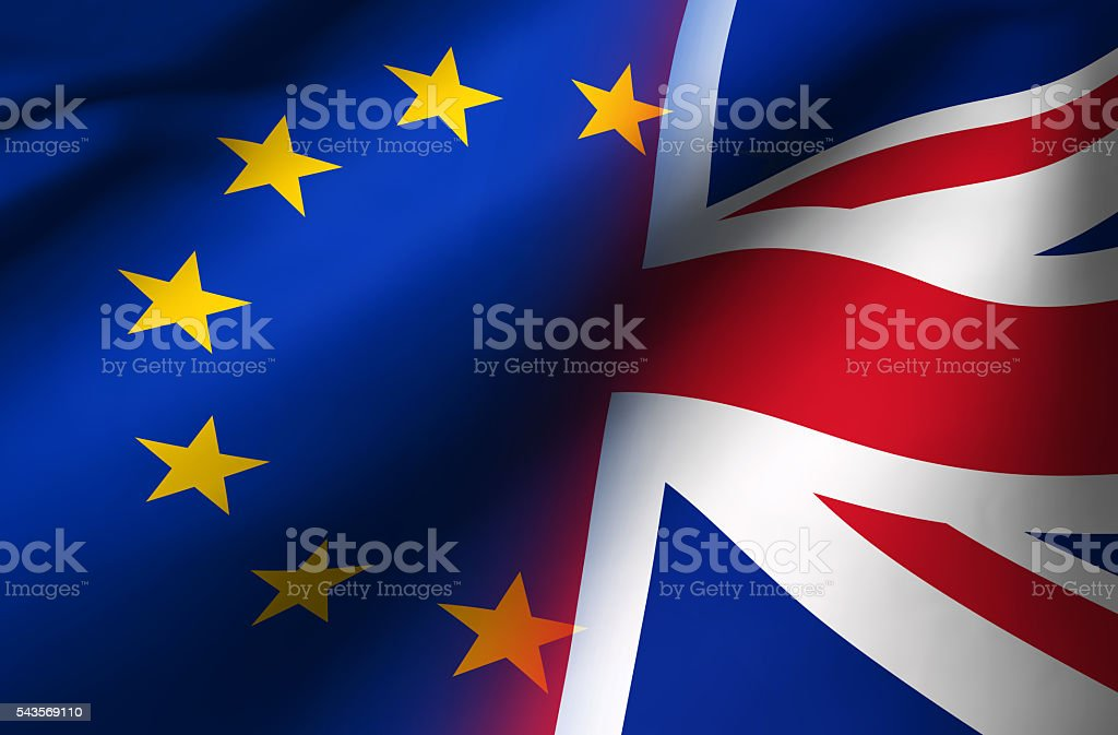 Union Jack And European Union Flag Brexit Concept stock photo