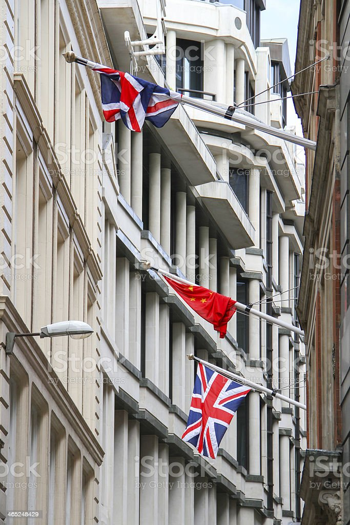 Union Jack and Republic of China flags royalty-free stock photo