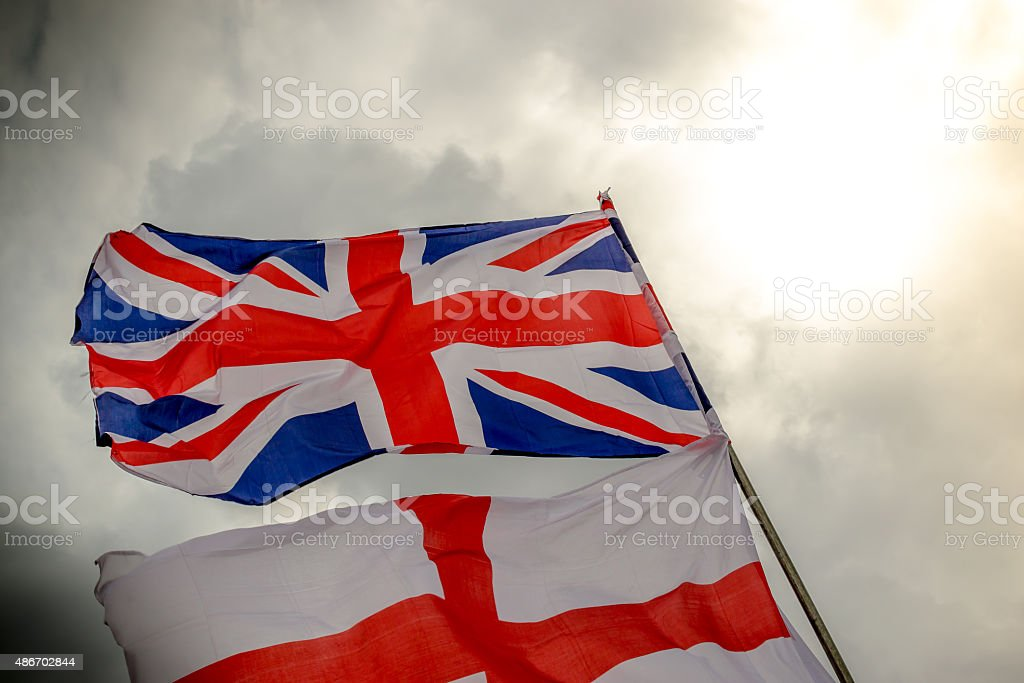 Union Jack and Saint George Flag stock photo