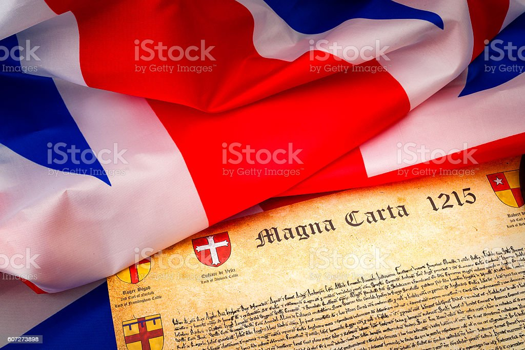 Union Jack and the Magna Carta stock photo