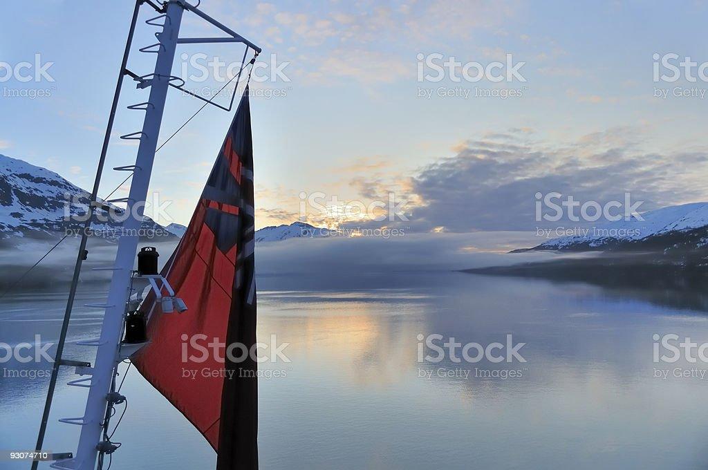 Union Jack At Whittier Alaska Sunrise stock photo