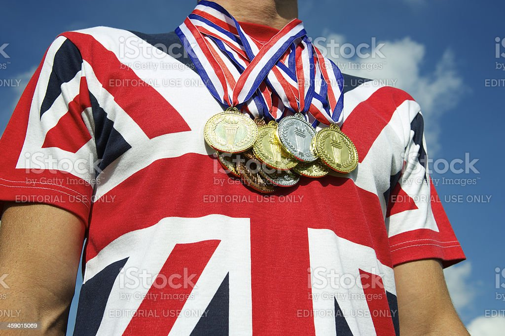 Union Jack British Flag T-Shirt Gold Silver Bronze Medals royalty-free stock photo