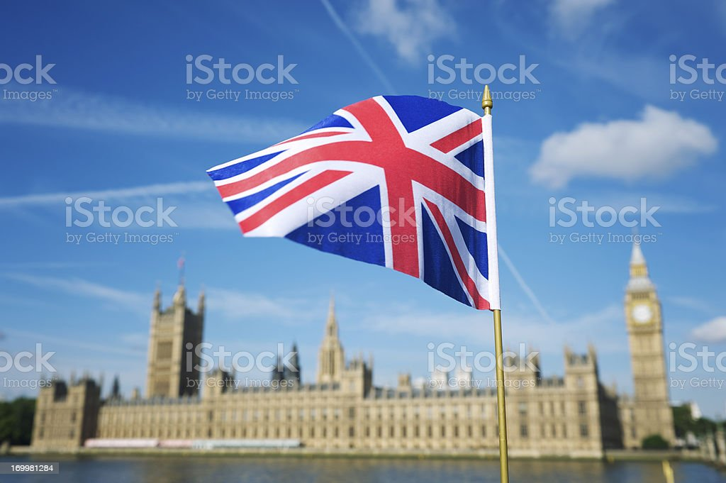 Union Jack British Flag Westminster Palace London stock photo