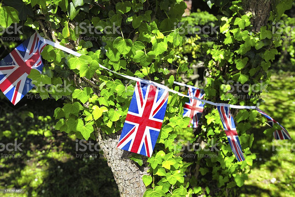 Union Jack Bunting around a tree royalty-free stock photo