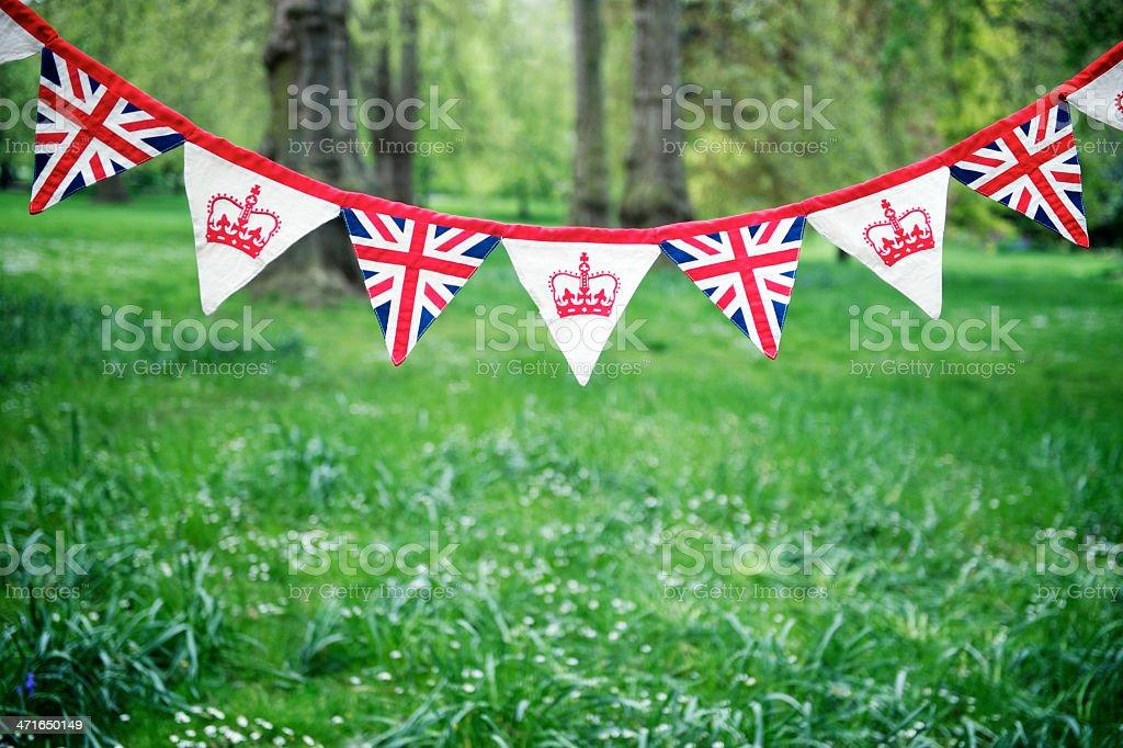 Union Jack Bunting Colorful English Park Celebrating Royal Baby stock photo