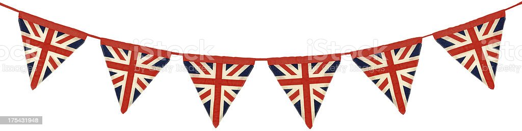 Union Jack Bunting Six Triangular Flags stock photo