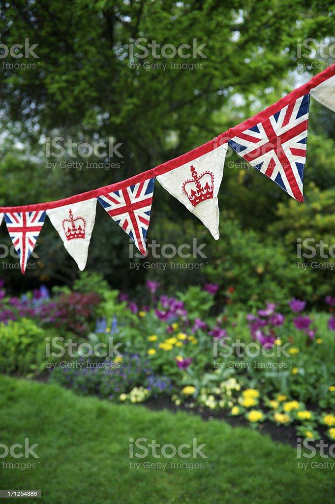 Union Jack Crown Celebratory Bunting English Garden Royal Baby Decoration royalty-free stock photo