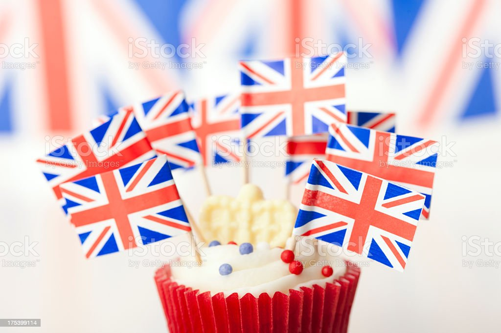 Union Jack cup cake with flags royalty-free stock photo