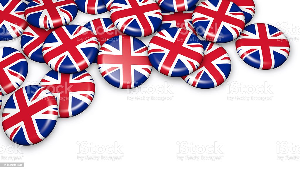 UK Union Jack Flag Badges stock photo