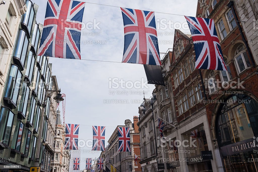 Union Jack Flag Bunting in New Bond Street stock photo