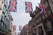Union Jack Flag Bunting in New Bond Street