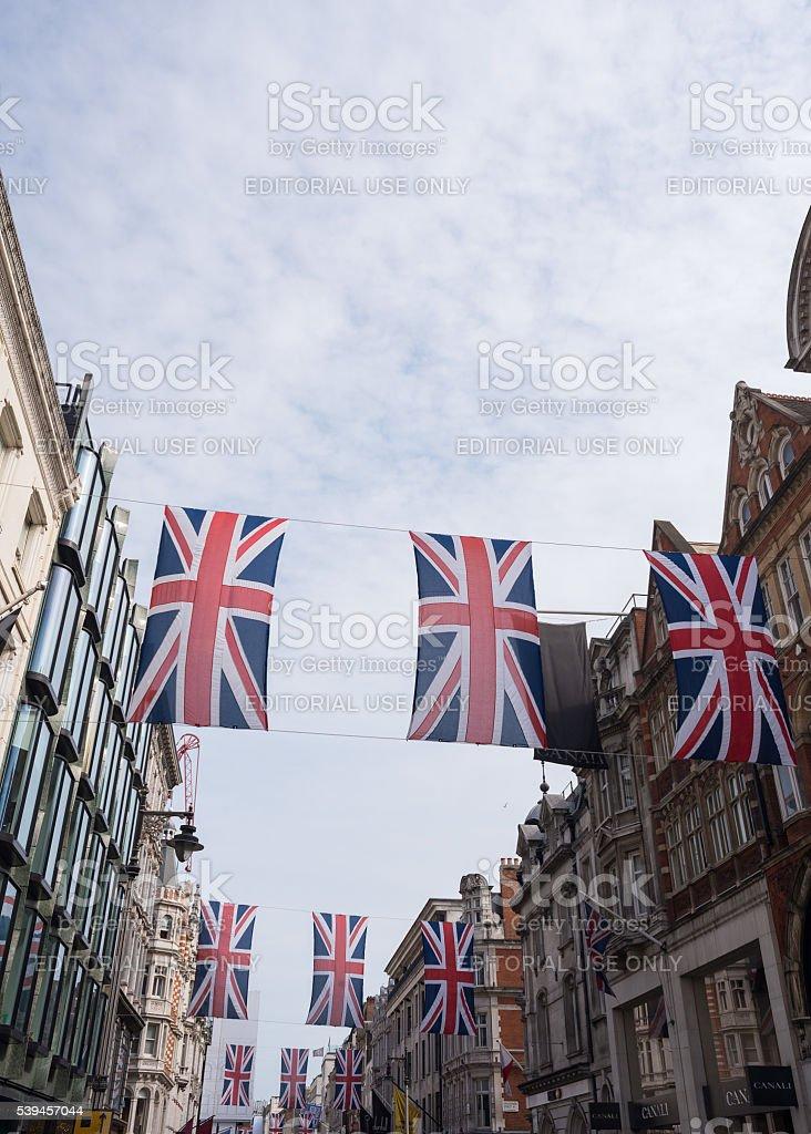 Union Jack Flag Bunting in New Bond Street stock photo