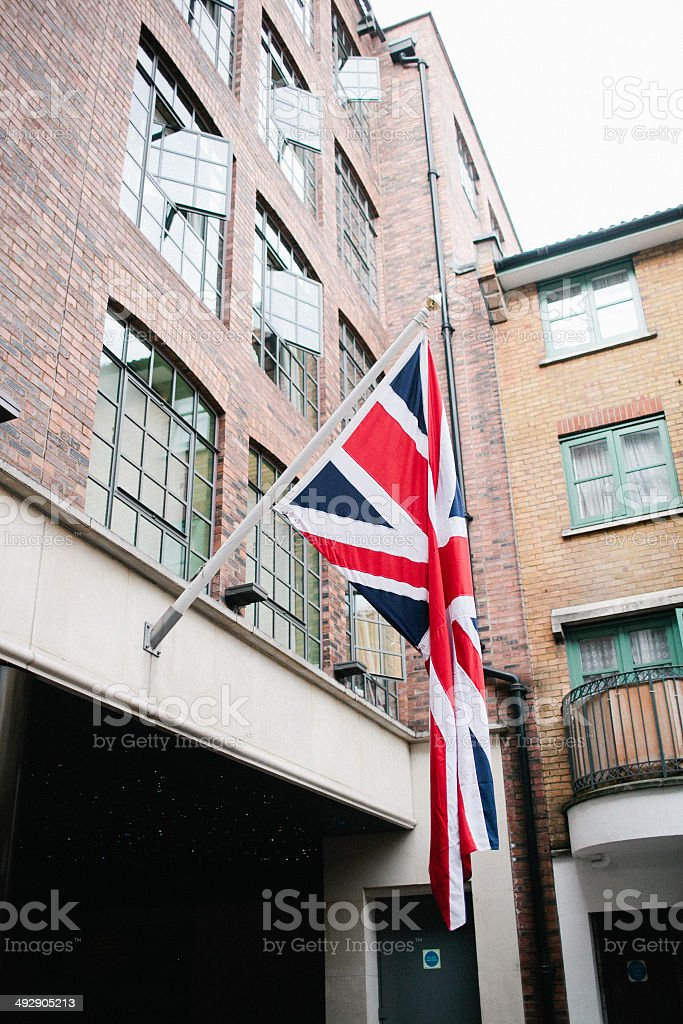 Union Jack Flag on London Building stock photo