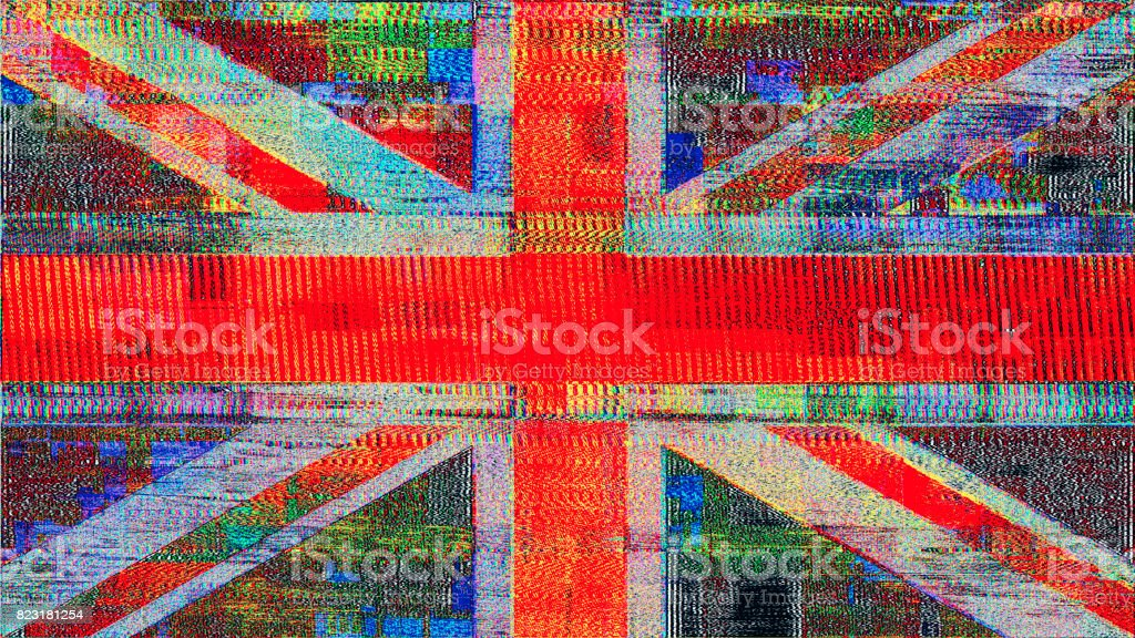 GREAT BRITISH GLITCH Union Jack flag remixed stock photo
