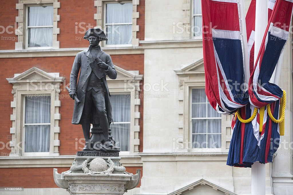 Union Jack Flags and Captain Cook stock photo
