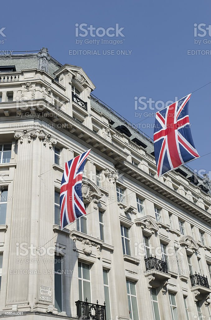 Union Jack flags decorate Regent Street, London royalty-free stock photo