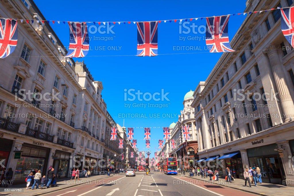Union Jack flags flying on Regent Street in London stock photo