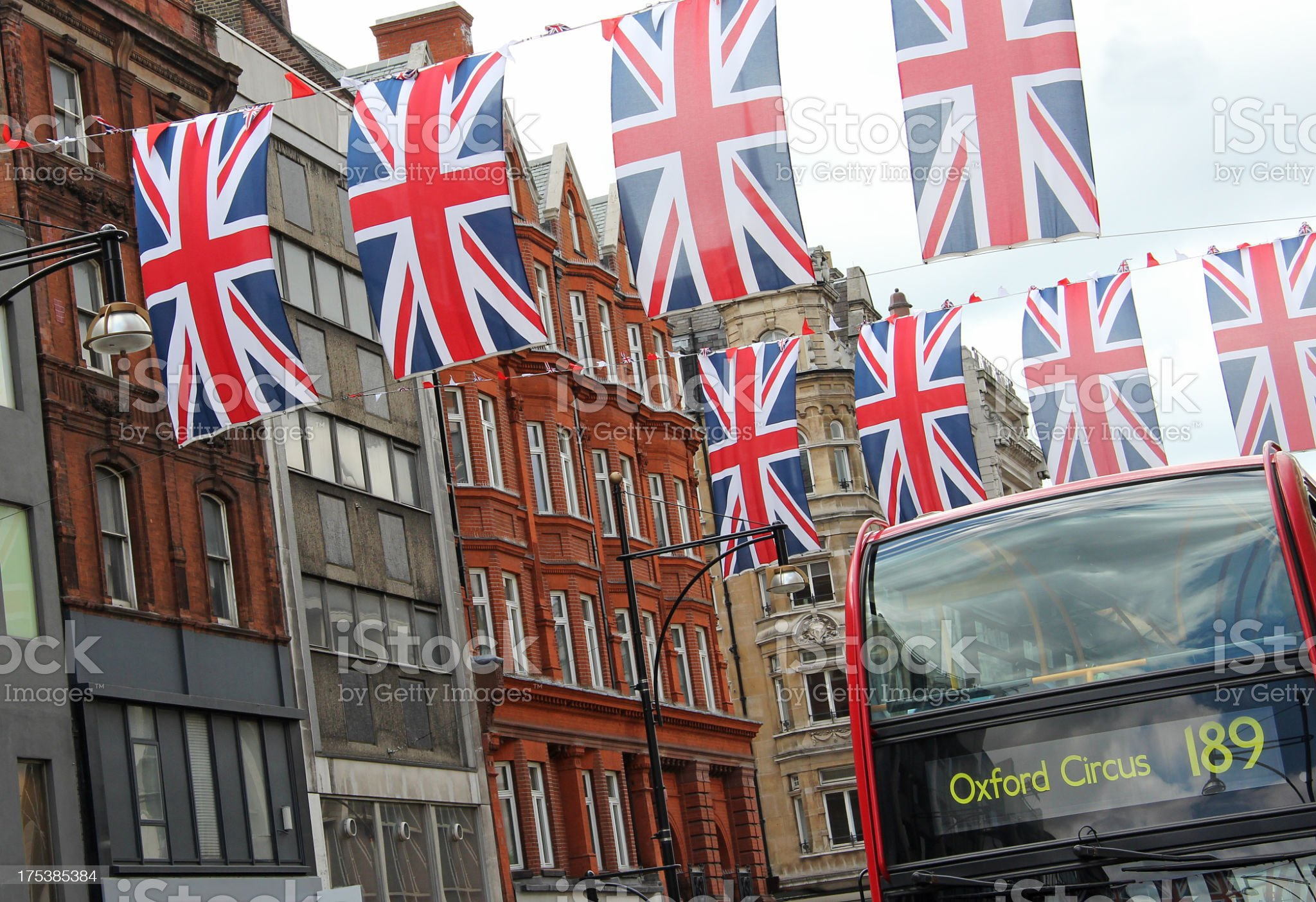 Union Jack flags in London royalty-free stock photo