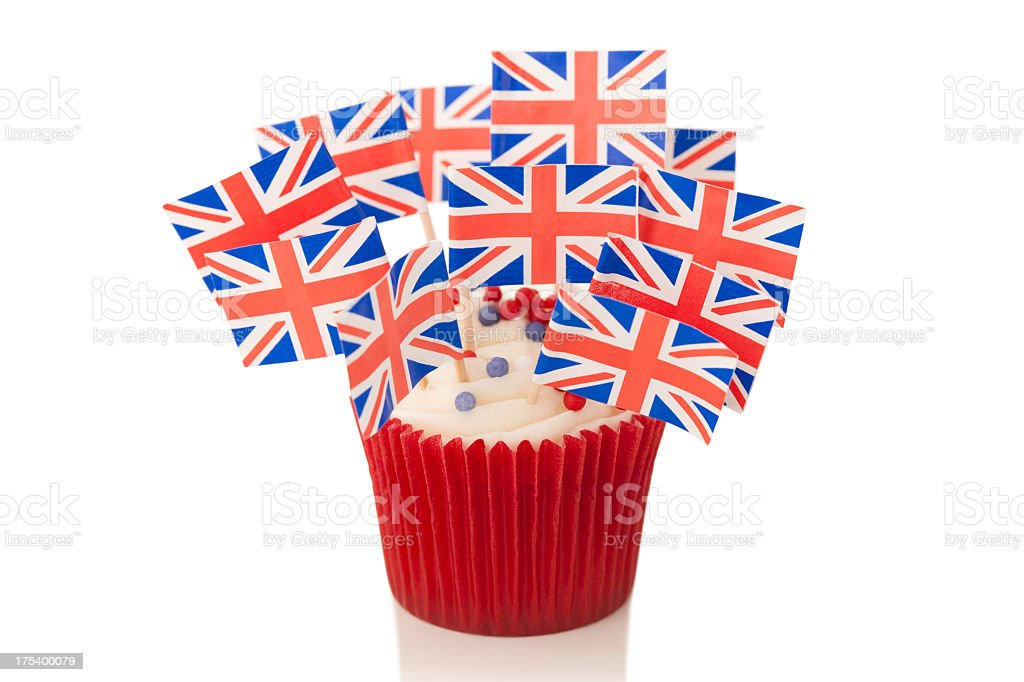 Union Jack flags on cup cake royalty-free stock photo