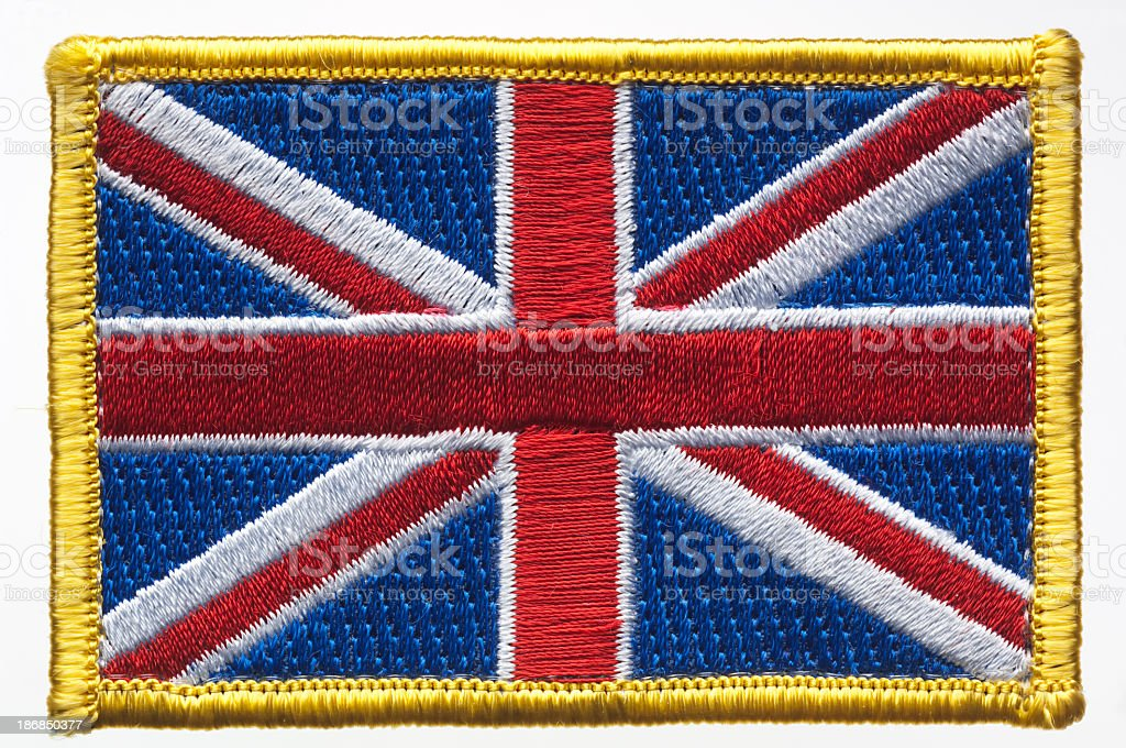 Union Jack, Great Britain's Flag Patch. stock photo