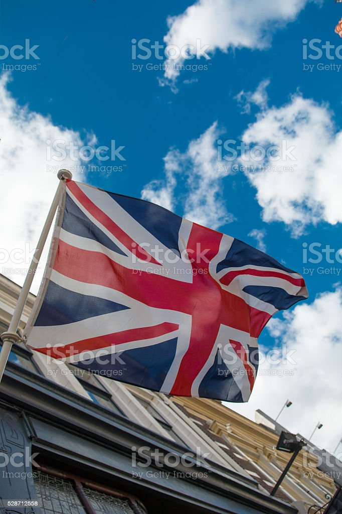 Union jack on building in europe stock photo