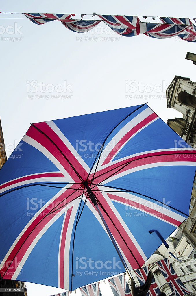 Union Jack on umbrella and flags royalty-free stock photo