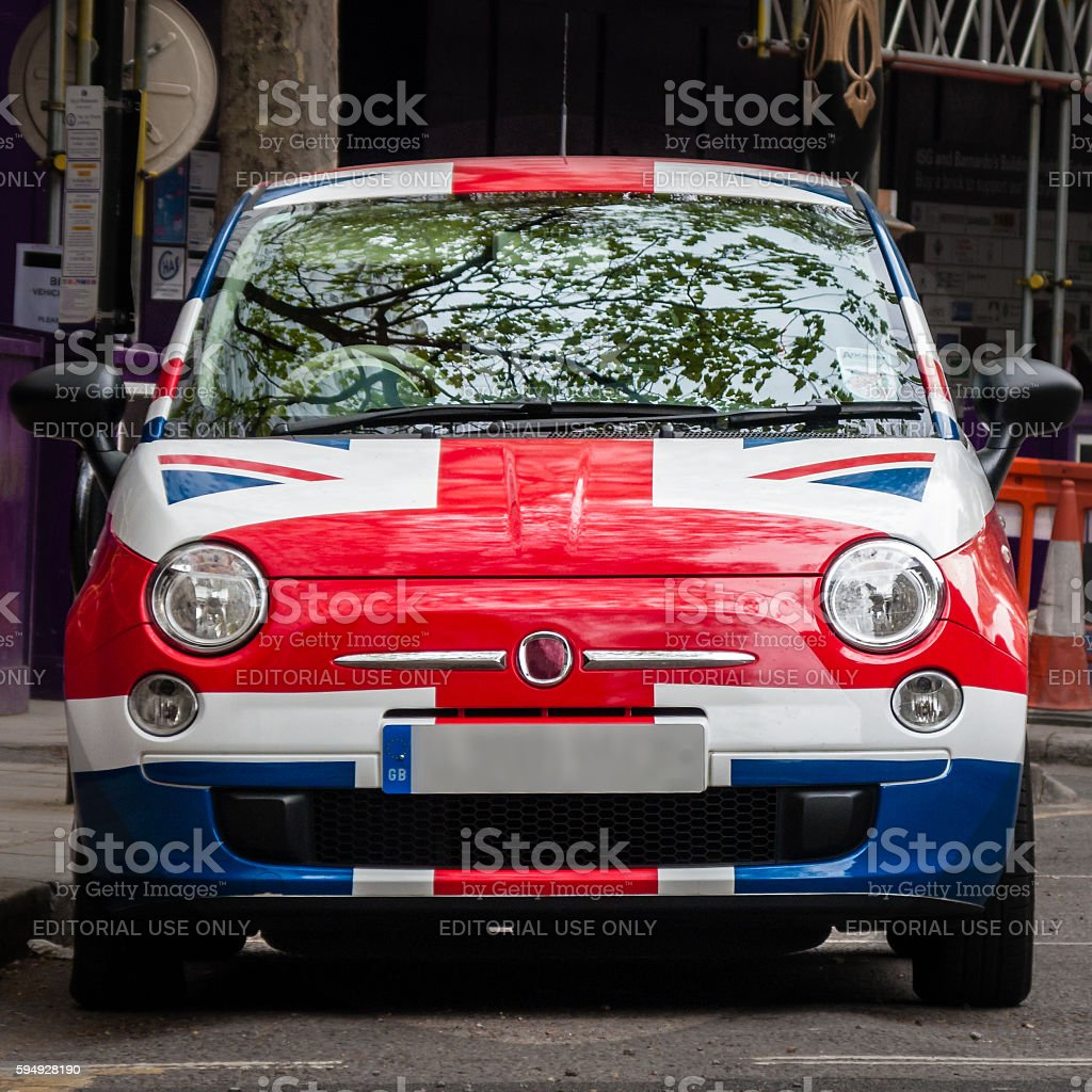 Union jack painted car. London, England. UK stock photo