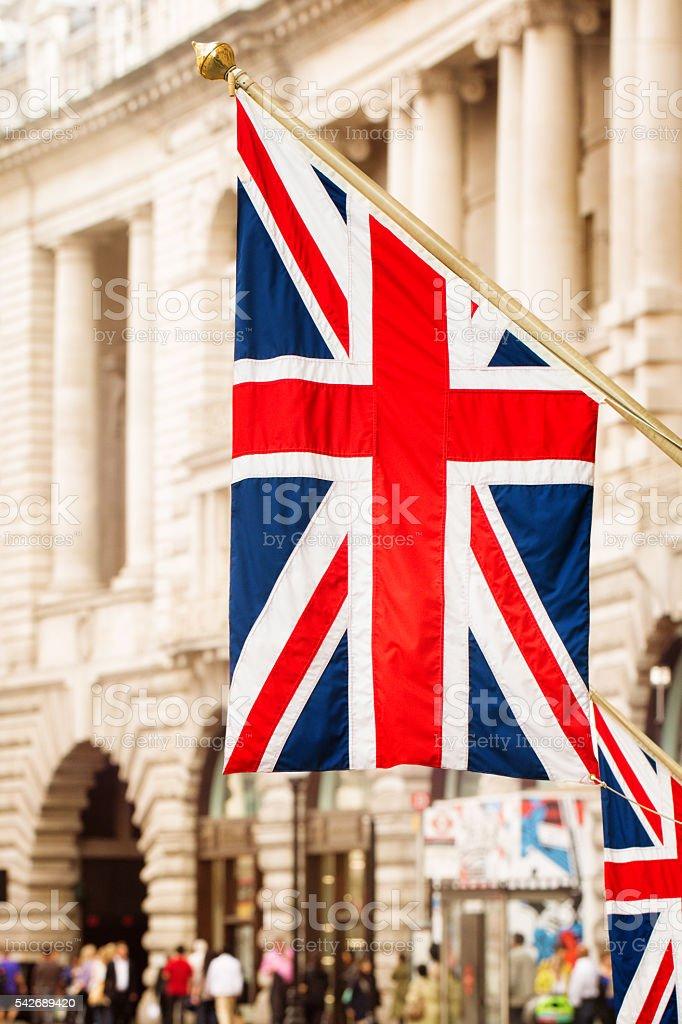 Union Jack UK British flag hanging Regent Street London stock photo