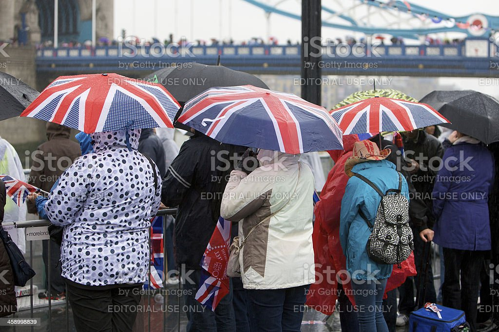 Union Jack umbrellas at the Queen's Diamond Jubilee River Pageant stock photo