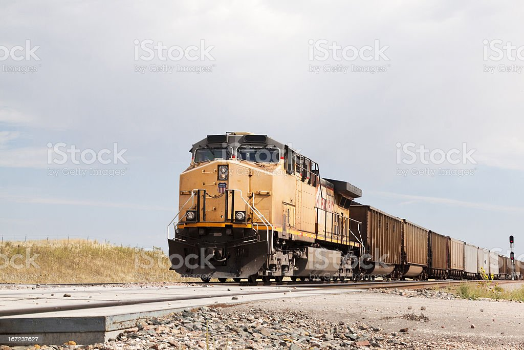 Union Pacific Railroad train approaching stock photo