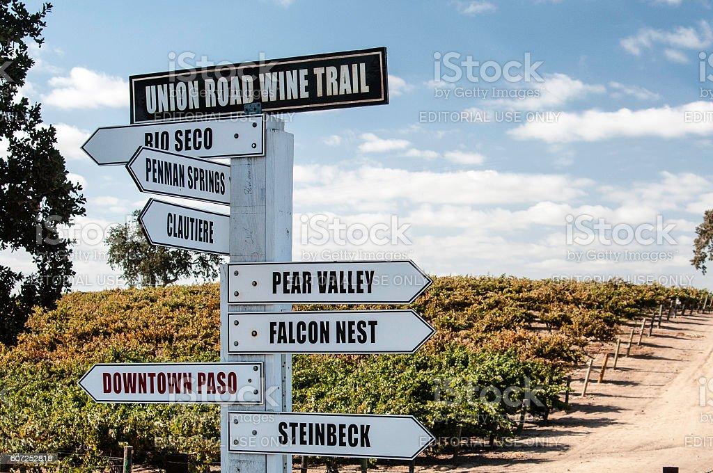 Union Road Wine Trail Signpost stock photo
