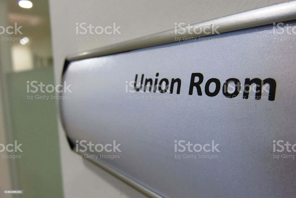 Union Room sign stock photo