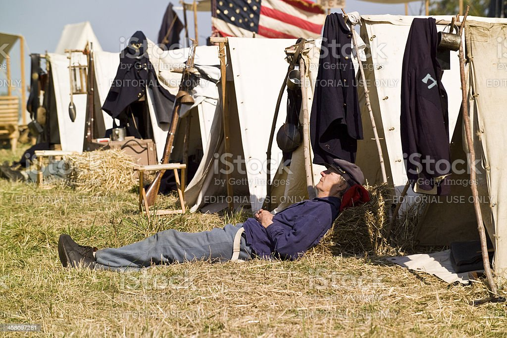 Union Soldier Sleeping in Camp US Civil War stock photo