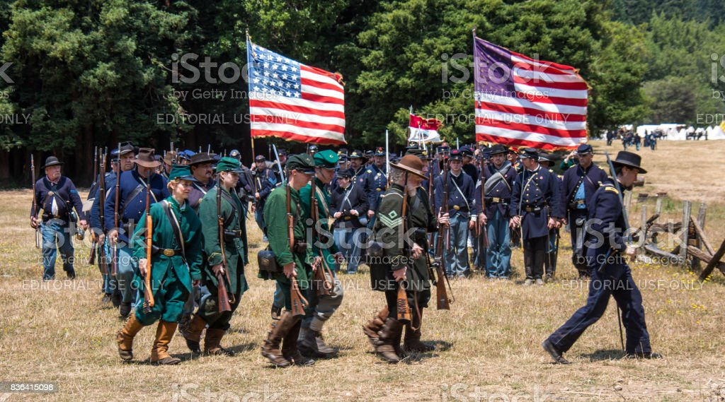 Union soldiers marching stock photo