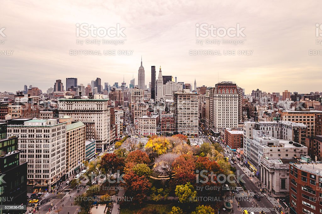 Union Square and New York City Shot From Above stock photo