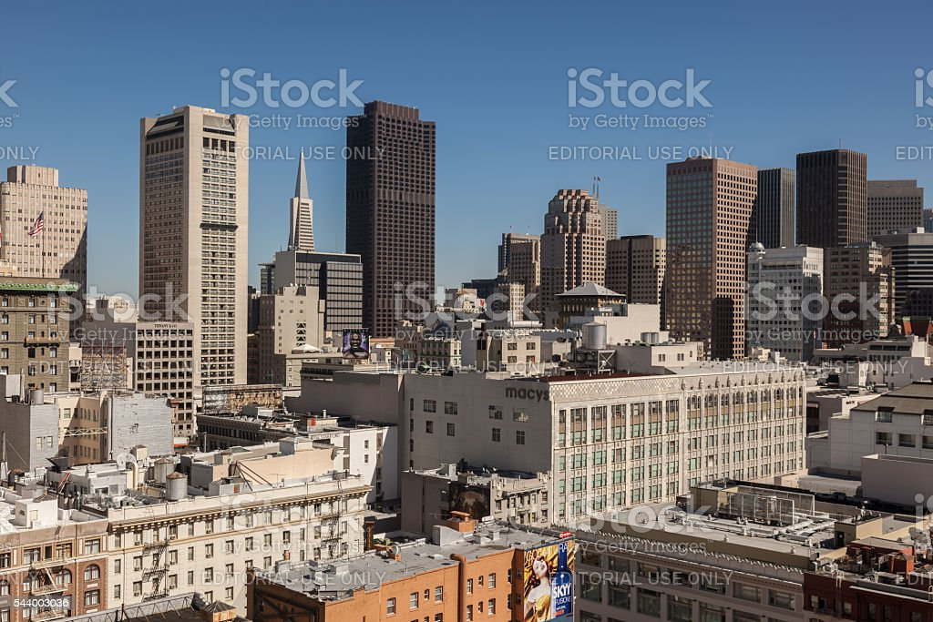 Union Square area of downtown San Francisco, California, USA stock photo