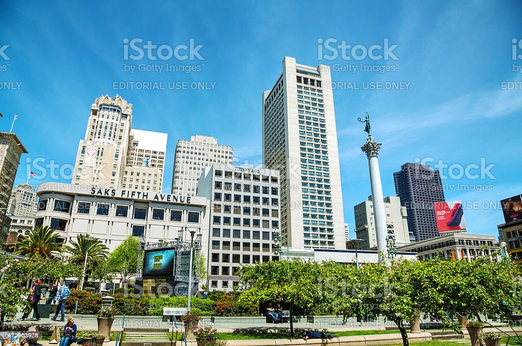 Union Square in San Francisco on a sunny day stock photo