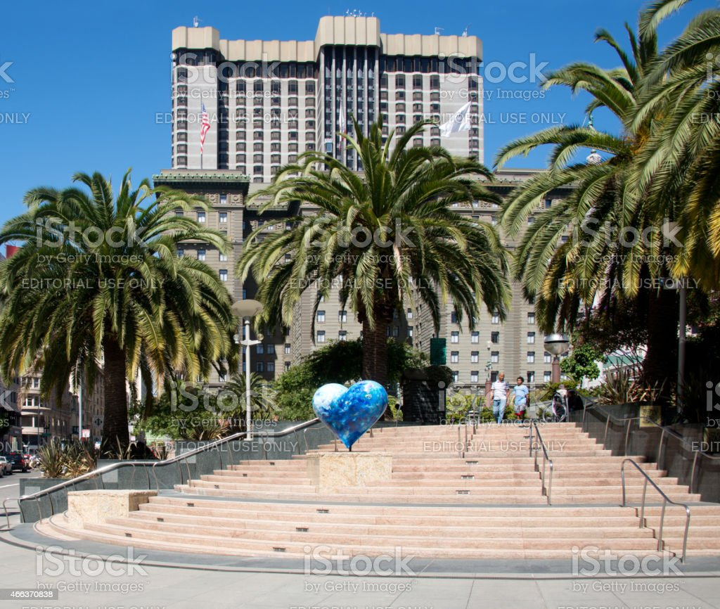 Union Square Park in San Francisco with Hart on Display stock photo