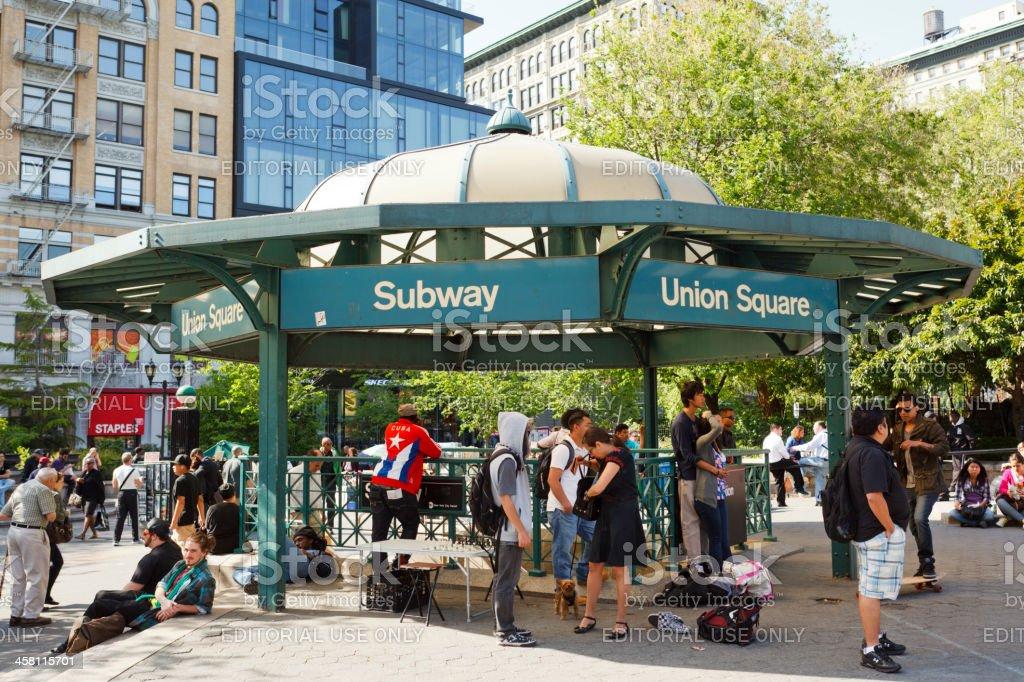 Union Square Park Subway Entrance stock photo