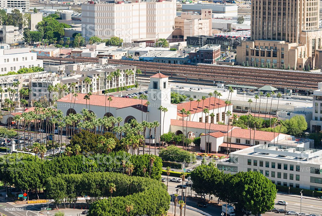 Union Station LA aerial view stock photo