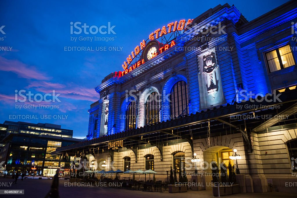 Union Station and Crawford Hotel during Winter Downtown Denver Colorado stock photo