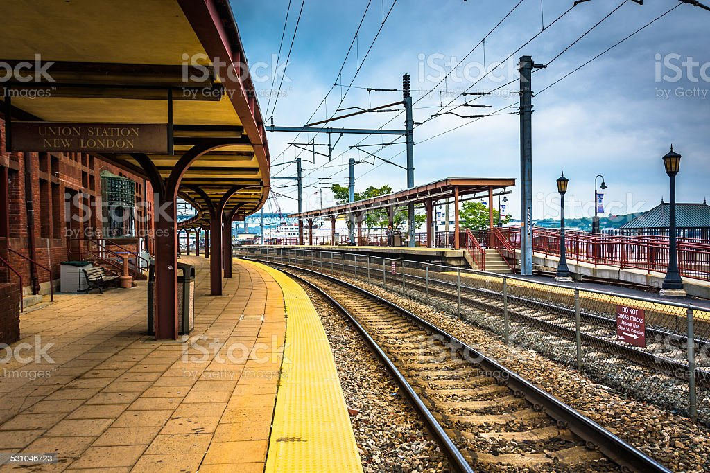Union Station and railroad tracks in New London, Connecticut. stock photo
