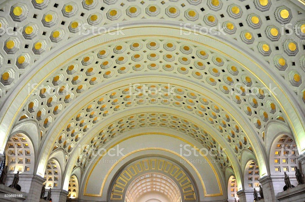 Union Station Ceiling, Washington DC stock photo