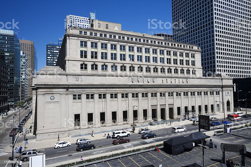 Union Station downtown Chicago stock photo