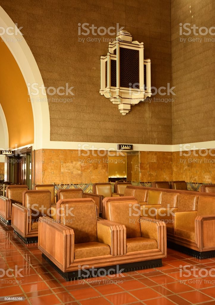 Union Station Los Angeles Train Waiting Area stock photo