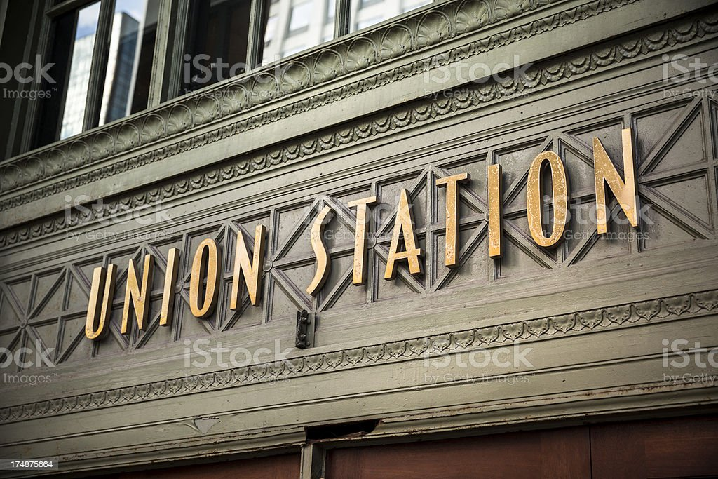 Union Station Sign in Chicago stock photo